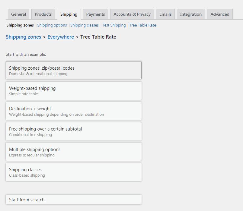 终级运费表单WooCommerce Tree Table Rate Shipping